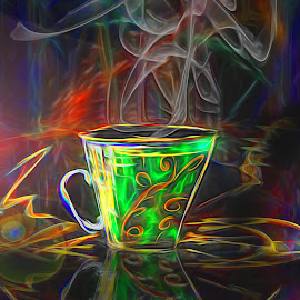 cup of coffee by Capucino Julio - Illustration Products & Objects ( cup, reflection, colorful, green, coffee )
