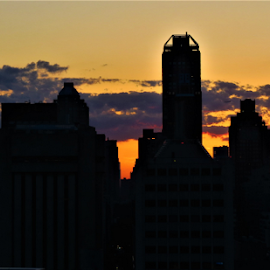 Sunset NYC by Hal Gonzales - City,  Street & Park  Skylines ( sunset, manhattan, nyc, clouds, skyscrapers,  )
