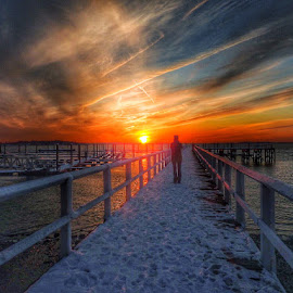 A moment in time by Ann Goldman - Landscapes Waterscapes ( sunset, pier, hull )