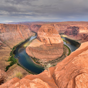 Horseshoe Bend by Amy Ann - Landscapes Caves & Formations ( water, arizona, canyon, cloudy, rocks,  )