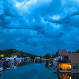Clouds Over Boathouse Slew by Kathy Suttles - City,  Street & Park  Night (  )