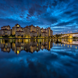 Sunrise @ Tanjong Rhu by Gordon Koh - City,  Street & Park  Vistas ( clouds, reflection, blue hour, riverfront, asia, symmetry, travel, homes, singapore, tanjong rhu )