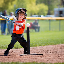 Love of the Game by Mike DeMicco - Babies & Children Child Portraits ( ball, hitting, play, sports, t-ball, tball, kids, game, teeball, love, child, playing, baseball, batting, happy, bat, smile, boy )
