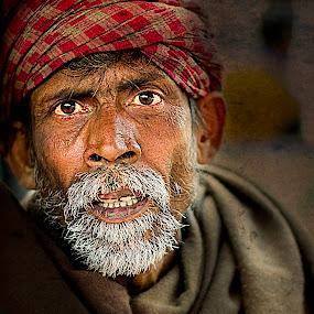 stare! by Rajarshi Mitra - People Street & Candids ( face, grunge, old, street, indian, senior citizen, men, portrait )