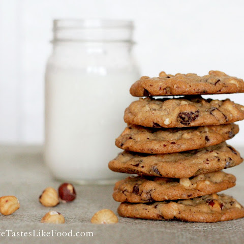 Dark Chocolate Chip and Hazelnut Cookies with Sea Salt