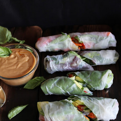 Fresh Summer Rolls With Basil, Avocado, Kale + Spicy Garlic Peanut Sauce