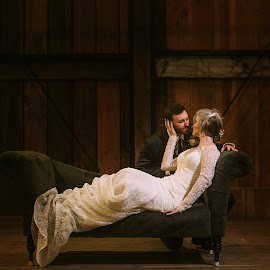On the Same Level by Kate Gansneder - Wedding Bride & Groom ( sofa, couch, seattle, wedding, couple, bride, groom )