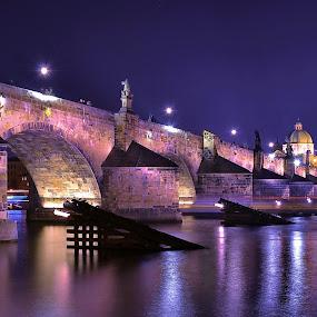 Charl's Bridge in Night by Abhinav Ganorkar - City,  Street & Park  Night ( night photography, waterscape, long exposure, bridge, nightscape,  )