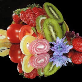 fruits,candy with flower by LADOCKi Elvira - Food & Drink Fruits & Vegetables ( fruits )