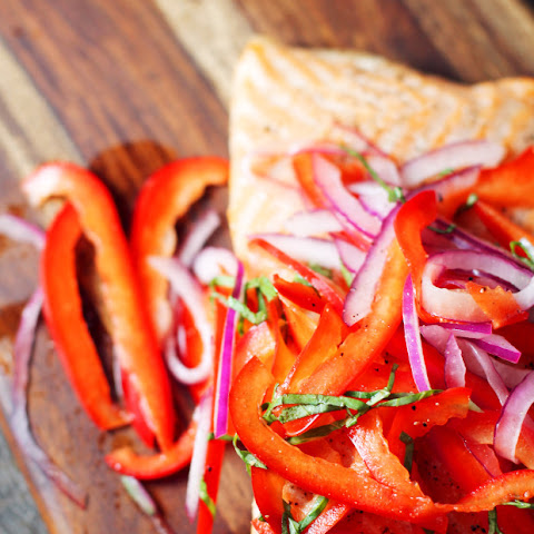 Salmon with Red Pepper Slaw