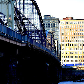 Smithfield Street Bridge by Scott Finn - City,  Street & Park  Neighborhoods ( pittsburgh, bridge, steel, city )