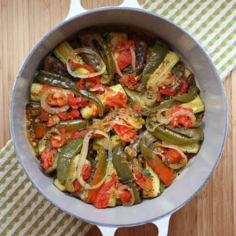 Ratatouille (Eggplant Casserole - with tomatoes, onions, peppers, and zucchini)