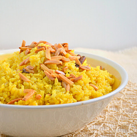 Saffron Rice with Golden Raisins and Toasted Almonds ROZ MLOW'WAN