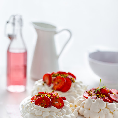 Rhubarb Strawberry Pavlova with Cardamon Cream