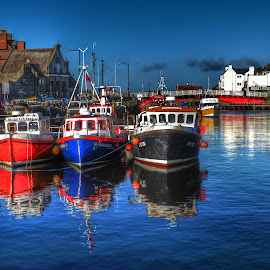 3 little boats... by Sue Walker - Transportation Boats ( water, reflection, waterscape, boats, whitby )