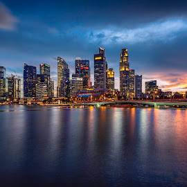 by Gordon Koh - City,  Street & Park  Vistas ( clouds, shenton way, skyline, riverfront, cityscape, travel, singapore, city, financial district, skyscraper, sunset, jubliee bridge, buildings, asia, long exposure, waterfront )