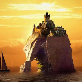 Castle by Charlie Alolkoy - Illustration Buildings ( seastack, sunset, ocean, castle, sailboat )