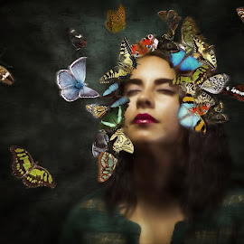 the butterflies by Kathleen Devai - Digital Art People ( fantasy, butterfly, beauty, surreal, portrait )