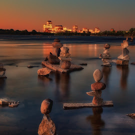 Guardians of Ottawa River by Salehin Chowdhury - Nature Up Close Rock & Stone ( reflections, ottawa, dusk, rocks, river )