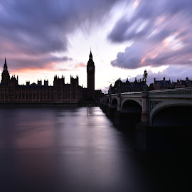 Big Ben, bigger sky by Paul Coomber - City,  Street & Park  Skylines ( clouds, smooth water., moody, sky line, long exposure, river, city )