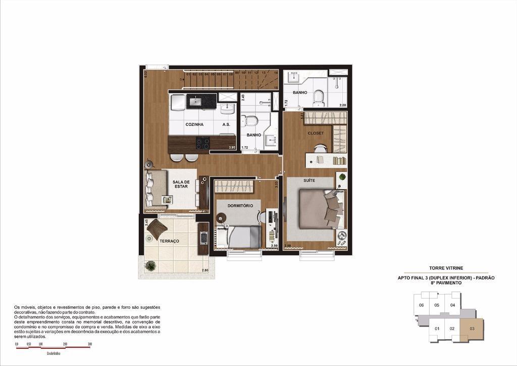 Planta 119 m² (Duplex Inferior) - Final 3 (Torre Vitrine)