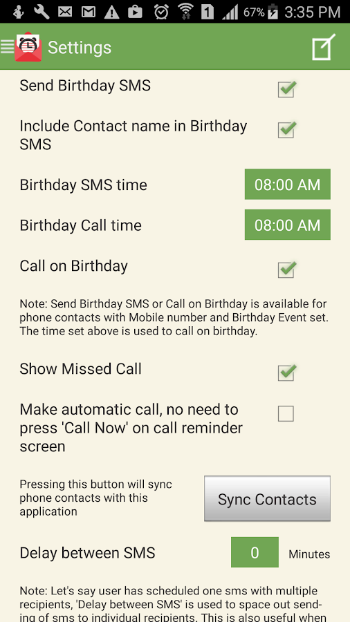 SMS-Call Scheduler Pro Screenshot 7
