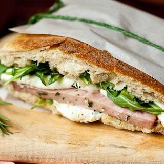 Grilled Ham Sandwich with Mozzarella and Arugula