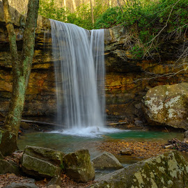 Cucumber Falls by Clare Kaczmarek - Landscapes Waterscapes ( waterfalls, pa state parks, cucumber falls, laurel highlands, mountain streams, ohiopyle )