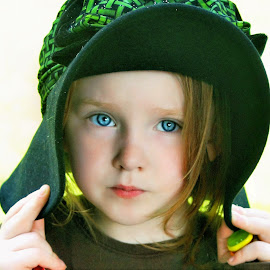 Green Hat by Cheryl Korotky - Babies & Children Child Portraits