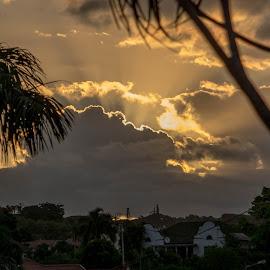 Sun ray by Glen Meyer - Landscapes Cloud Formations ( cloud formations, sunset, ray of light )