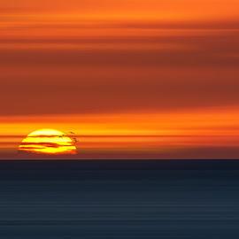 Big Ball of Fire by Dominic Schroeyers - Digital Art Places ( clouds, sky, colors, sunset, sundown, horizon, sea, sunshine, sun )