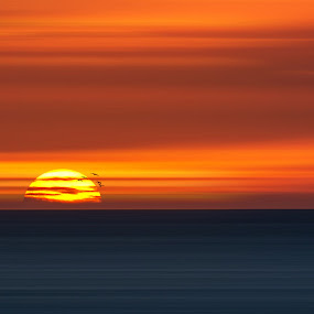 Big Ball of Fire by Dominic Schroeyers - Digital Art Places ( clouds, sky, colors, sunset, sundown, horizon, sea, sunshine, sun )