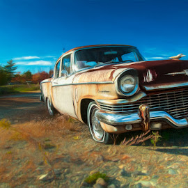 Parked For Good by Chris Cavallo - Digital Art Things ( sign, downeast, maine, automobile, phone booth, rusty, rust, antique, decay, abandoned )