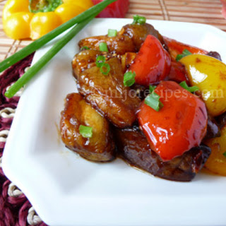 Sweet and Sour Chinese Eggplant recipe with Bell Peppers
