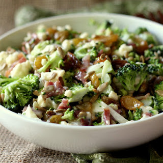 Broccoli Cauliflower Salad With Raisins Bacon Recipes