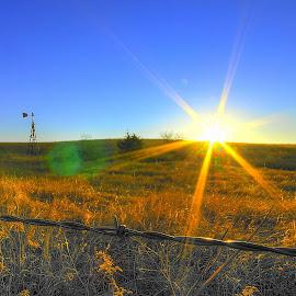 Broken Windmill by Derrill Grabenstein - Landscapes Deserts