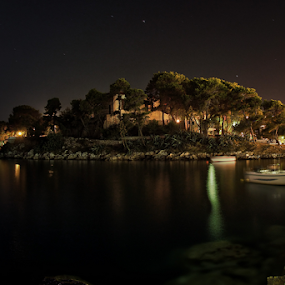 by Paschalis Angelopoulos - Landscapes Starscapes ( port, night, full moon )