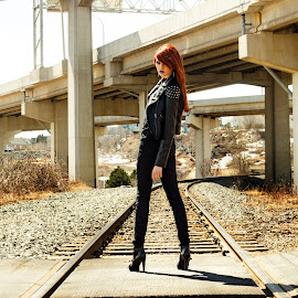 Darrelyn on train tracks by Mary Withers Lawton - People Fashion ( fashion, people, women, city )