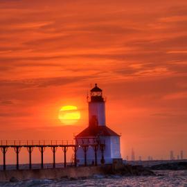 Washington Beach Sunset by John Larson - Landscapes Sunsets & Sunrises ( clouds, water, skyline, sky, sunset, lake, sun )