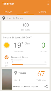 UV Index Forecast Tan Meter Screenshot