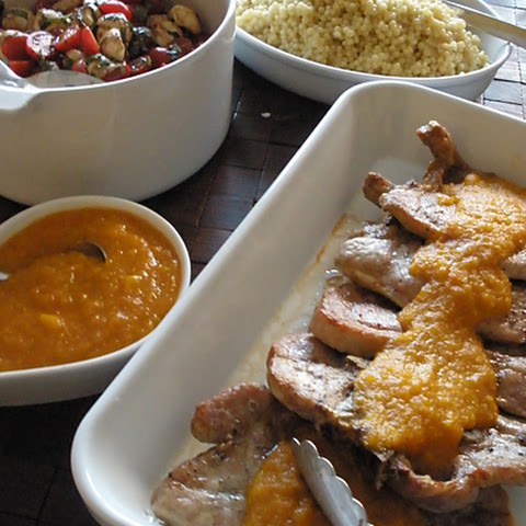 Grilled Pork Steak with Apricot-Mango Sauce