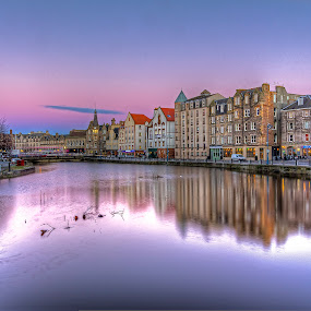 Sunset on the Shore by Mark Holm - City,  Street & Park  Historic Districts ( shore, leith, red, edinburgh, sunset, victorian )