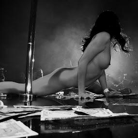 dancer in light by John Brock - Nudes & Boudoir Artistic Nude ( nude, black and white, artistic, stripper, dancer )