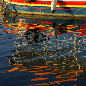 Boat reflection by Pixie Simona - Abstract Light Painting ( water, reflection, harbor, blue, habour, boat reflection, sea, reflections, seascape,  )