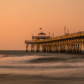 Cherry grove pier at north myrtle beach.  by George Petropoulos - Buildings & Architecture Bridges & Suspended Structures