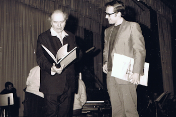 With Messiaen, rehearsing for final of Messiaen Piano Competition, Royan, 1968