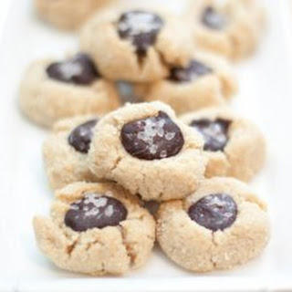 "Vegan Salted Cacao Thumbprint Cookies"" Makes"