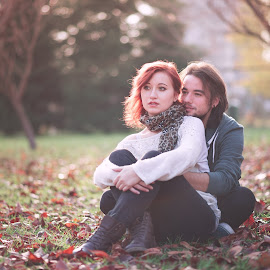 Autumn Love by Adrian Manea - People Couples ( love, orange, autumn, couple, nikon, leaves, people )