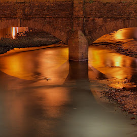 Under the bridge by Ty Williams - Landscapes Waterscapes ( water, reflection, pattern, waterscape, sea, seascape, landscapes, evening, river )