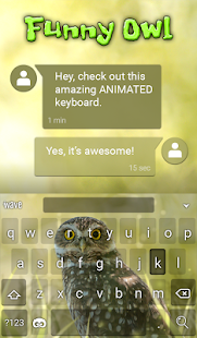 Funny Owl Animated Keyboard - screenshot